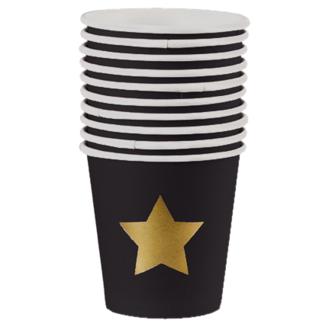 10 gobelets à café 11cl noir étoile or