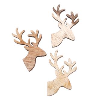 10 têtes de rennes en bois
