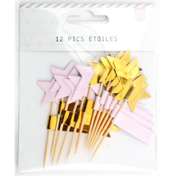 acquista online Stecchini con stelle rosa e oro, 12pz.