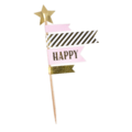 Set de 4 pics de décor rose et or Happy
