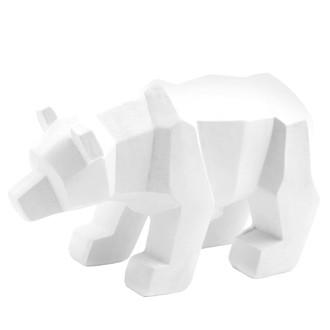 Ours blanc origami 3D en céramique 17x10cm