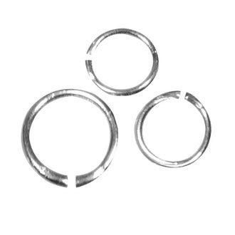 Lot de 120 anneaux de liaisons ronds argent de 3 à 10mm de diamètre