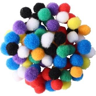200 Mini pompons couleurs vives diamètre 8 mm