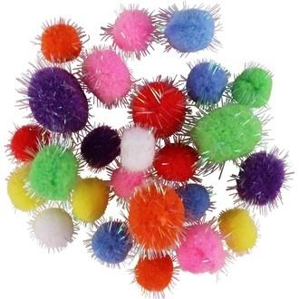 Assortiment de 25 pompons glitter