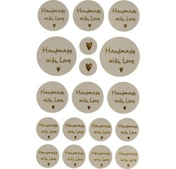 Achat en ligne Set 4 planches stickers message handmade with love 2-5cm