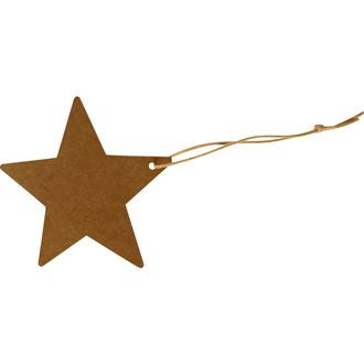 Set de 20 étiquettes étoiles en kraft 8cm