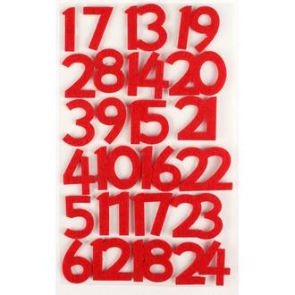 Set de 24 stickers chiffres en feutrine rouge 3cm