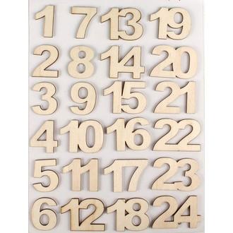 Set de 24 stickers chiffres en bois brut 2,2cm