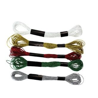 4 échevettes métallisés vert,rouge,or,argent 8m