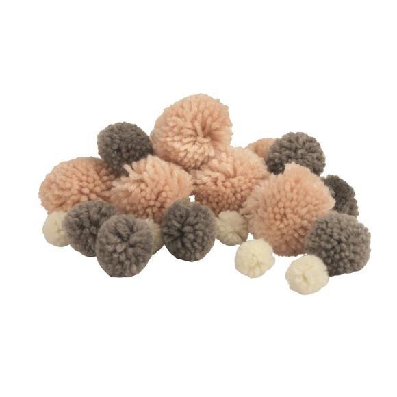 45 Pompons laine rose/gris/blanc