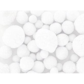 Set de 72 pompons blancs tailles assorties 1,5-2,5 et 4cm