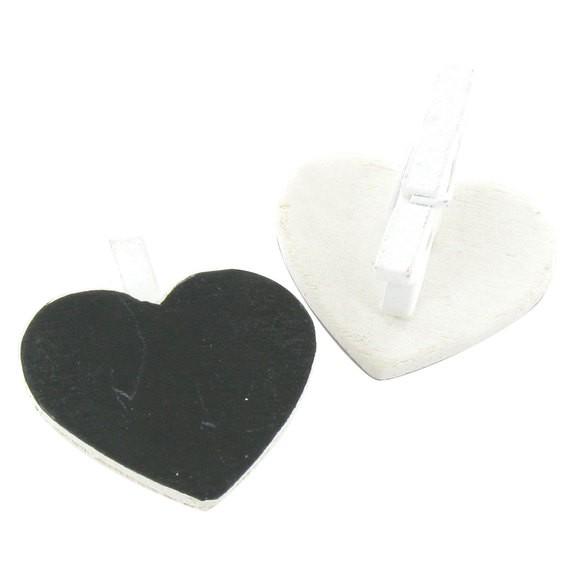 Achat en ligne Set de 12 mini pinces décoratives ardoise cœur 2,8x2,5cm