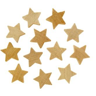 Set de 12 étoiles de décoration en bois brut 2,5x1cm
