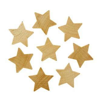 Set de 8 étoiles à coller en bois brut 3,5x1cm