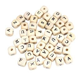 Achat en ligne 102 Perles bois lettres carrées