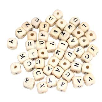 102 Perles bois lettres carrées