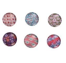 compra en línea Juego de 6 imanes de cristal floreados Liberty (1,8 cm)