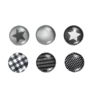 Set de 6 aimants en verre thème noir et blanc 1,8cm