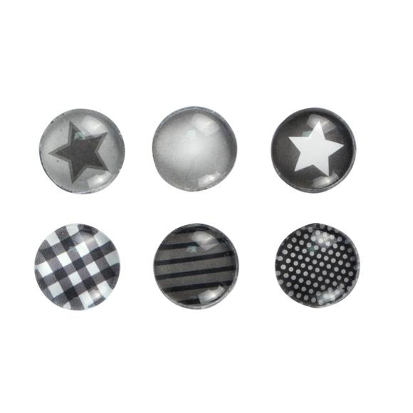Achat en ligne Set de 6 aimants en verre thème Noir et Blanc 1,8cm