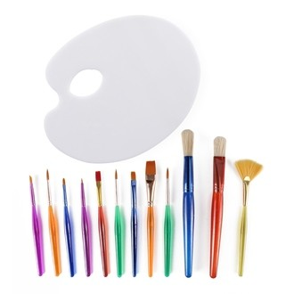Lot de 12 pinceaux et palette acrylique - 13 pièces