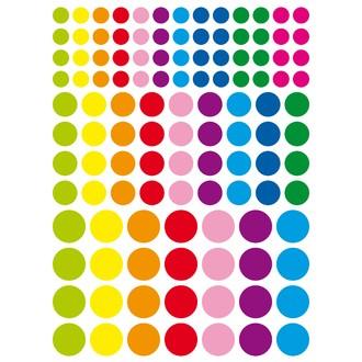 Gommettes rondes couleurs vives diamètres assortis 348 pièces