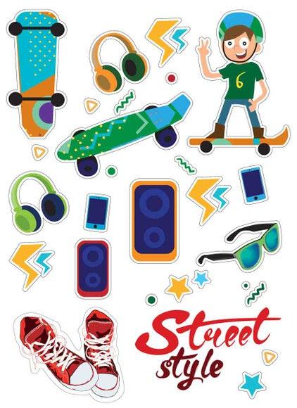 Achat en ligne Gommettes street style skateboard