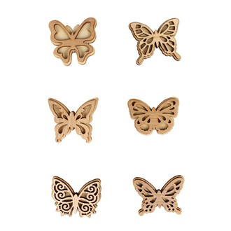 Lot de 6 papillons stickers en bois 5x4cm