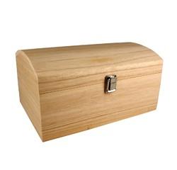 compra en línea Cofre con tapa redondeada en madera natural (30 x 20 x 15 cm)