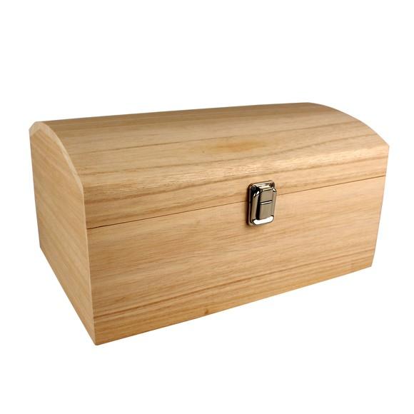 Scatola con coperchio curvo in legno grezzo 30x20x15cm