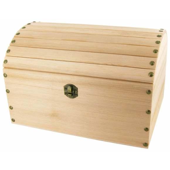 Achat en ligne Coffre pirate bois brut grande taille 53x37x29cm