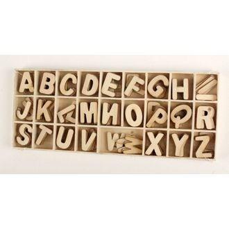 Coffret de 130 lettres en bois brut 2,3cm