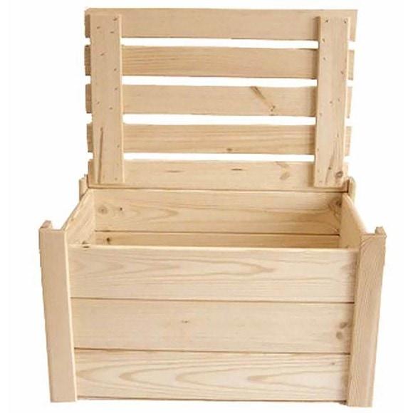 Coffre à jouets en bois brut à décorer 28x18x13cm