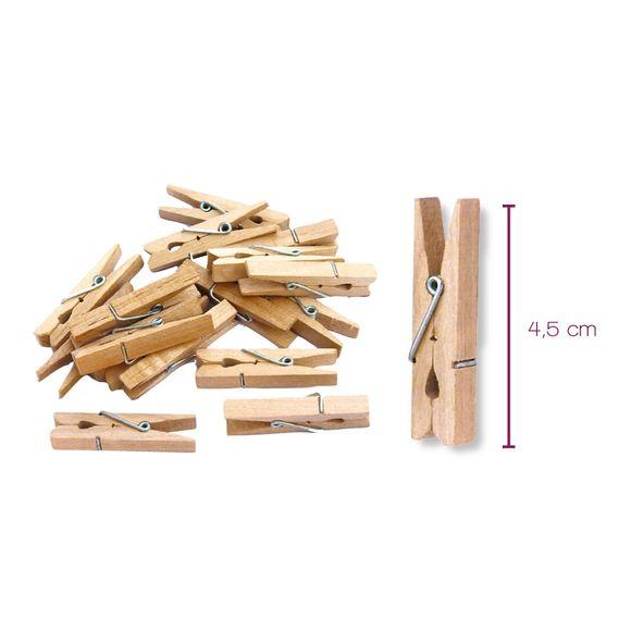 Indispensables 50 pinces à linge en bois 4,5cm