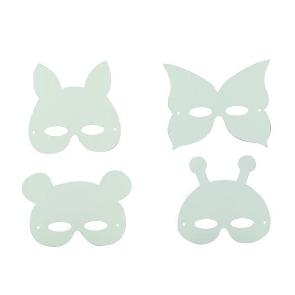 Achat en ligne Set de 12 masques animaux avec élastique en carton blanc