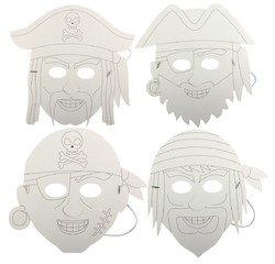 Achat en ligne Set de 4 masques pirate à colorier
