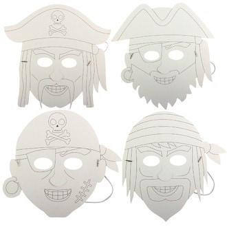 Set de 4 masques pirate à colorier