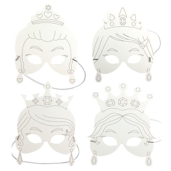 Set de 4 masques princesses à colorier