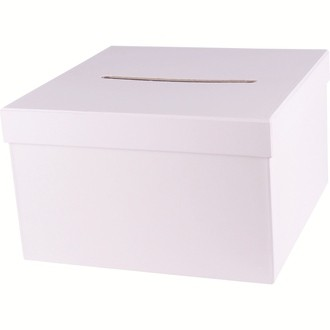 Urne carrée en carton blanc 24,5x24,5x15cm