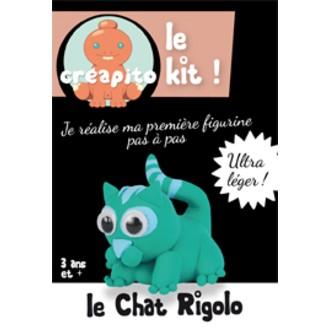 Kit le Chat rigolo en pâte à modeler vert Creapito