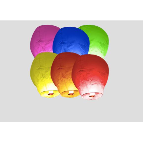 Set de 6 lanternes volantes multicolore