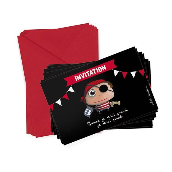 Set de 6 cartons d'invitation pirate