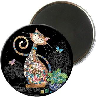 KIUB - Magnet rond jewels chat 5,5cm - MAGR03C09