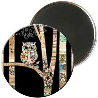KIUB - Magnet rond jewels chouette 5,5cm - MAGR03C12