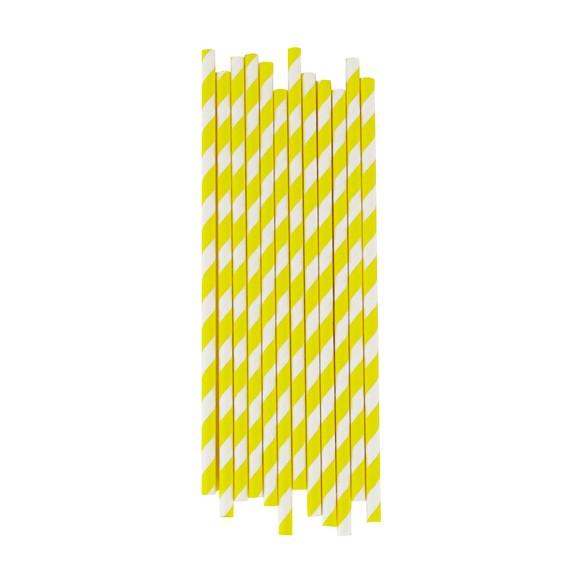 acquista online Set de 25 pailles à rayures jaunes