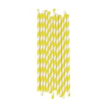 Achat en ligne Set de 25 pailles à rayures jaunes