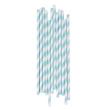 Achat en ligne Set de 25 pailles à rayures bleues clair