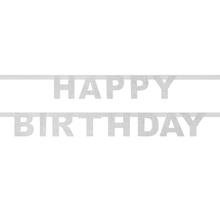 Achat en ligne Guirlande happy birthday en papier pailletés argent 185cm