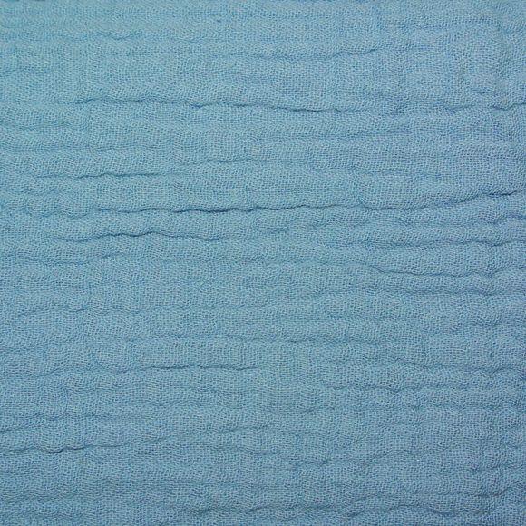 Fodera per cuscino in doppia garza di cotone  blu jean 40x40cm