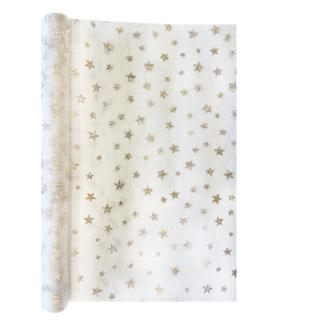 Chemin de table blanc étoile dorée 0,30x4m