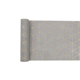 Chemin de table effet lin gris avec motif or 0,28x4m